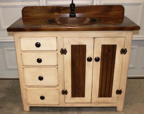 "Farmhouse Vanity - Copper Sink - 42"" - Antique white - Bathroom Vanity - Bathroom Vanity with Sink - Rustic Vanity - Rustic Farmhouse Vanity"