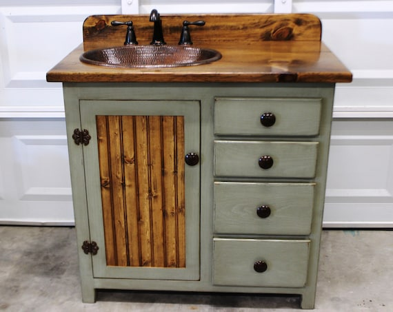 "Bathroom Vanity - 36"" - Rustic Farmhouse Bathroom Vanity - Sage Green - Bathroom Vanity w/ Drawers - Rustic Bathroom Vanity - Copper Sink"