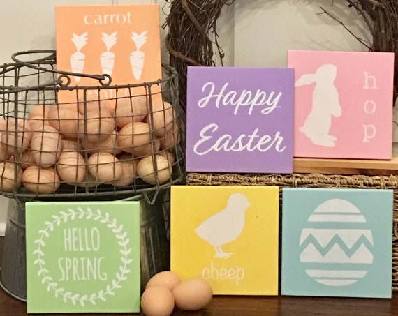 Easter Decor - 6 Easter Signs - Spring Decor -Painted Wooden signs - Spring Signs - Set of 6 Easter Signs - Wood Sign Set for Easter - Signs