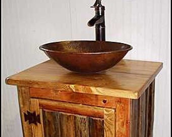"Rustic LOG Bathroom Vanity - MS1373-25 - Pump Faucet - 25"" - Bathroom Vanity - Copper Sink - Rustic Bathroom Vanity - Bathroom Vanities"