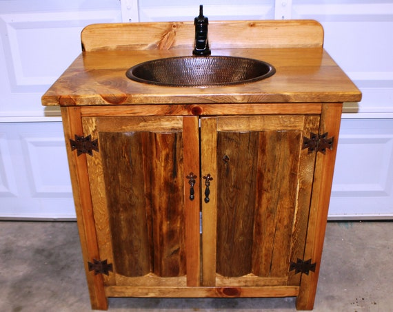 "Rustic Log Bathroom Vanity - 36"" - Bathroom Vanity with sink - MS1371-36 with backsplash - Vanity - Copper sink - Rustic Bathroom Vanity"