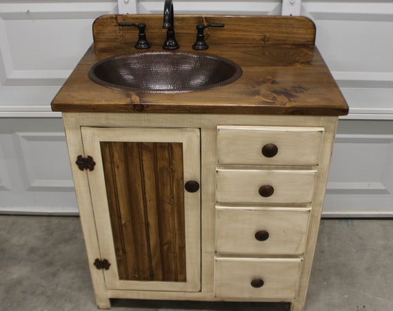 "Rustic Farmhouse Vanity - 32""- Copper Sink - Antique white - Bathroom Vanity - Bathroom Vanity with Sink - Rustic Vanity - Farmhouse Vanity"