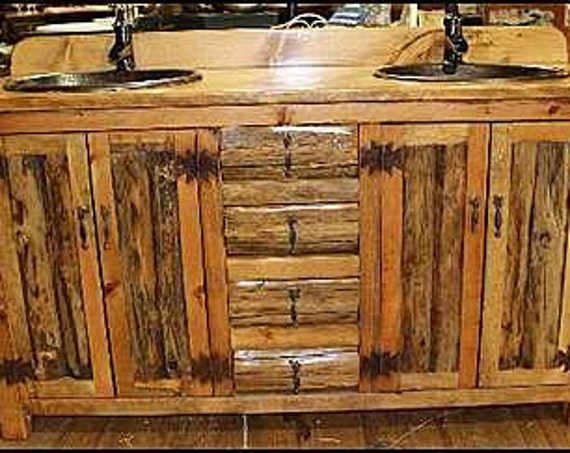 "Double Bathroom Vanity - 62"" -MS1371-62D - Rustic LOG Bathroom Vanity - Bathroom Vanity with sink - Log Furniture - Bathroom Vanities - Sink"