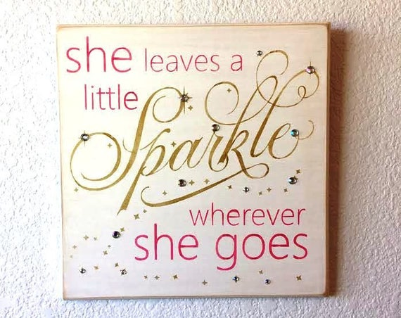 She Leaves a Little SPARKLE wherever She Goes ~ White with Lavender, Gray and Sparkles! - Painted Wooden Sign - Hand painted -Girl's Room