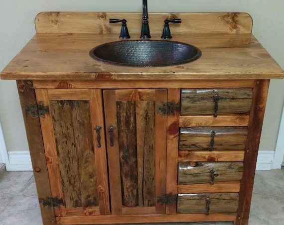 "RUSTIC BATHROOM VANITY - 42""- Rustic Log Vanity - MS1371-42C - Bathroom Vanity with Sink - Bathroom Vanities - Copper Sink - Rustic Bathroom"