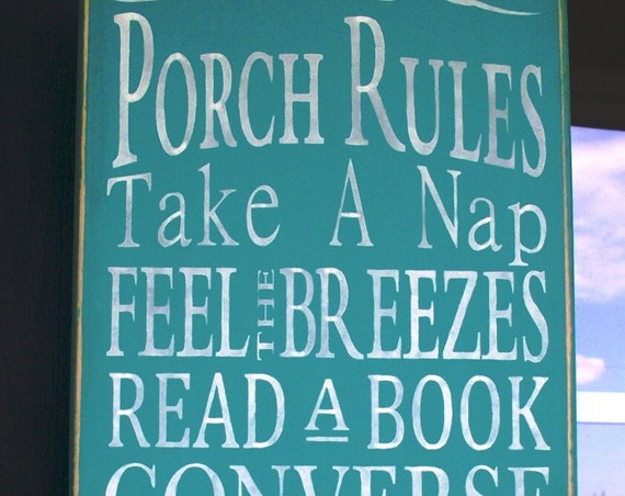 """PORCH RULES - Wooden sign - Large - 12"""" x 24"""" - hand painted - turquoise - Family Rules - rustic - aqua - teal"""