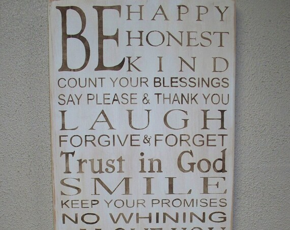 Family Rules - Large Painted Wooden Sign - 24 x 12 - Be HAPPY - Be HONEST - Be KIND - Wooden Signs - Hand Painted Wooden signs - Large sign
