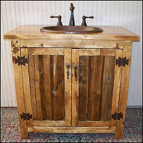 "Rustic Log Bathroom Vanity - 36"" - Bathroom Vanity with sink - MS1371-36 - Vanity - Copper sink - Rustic Bathroom Vanity - Bathroom Vanities"