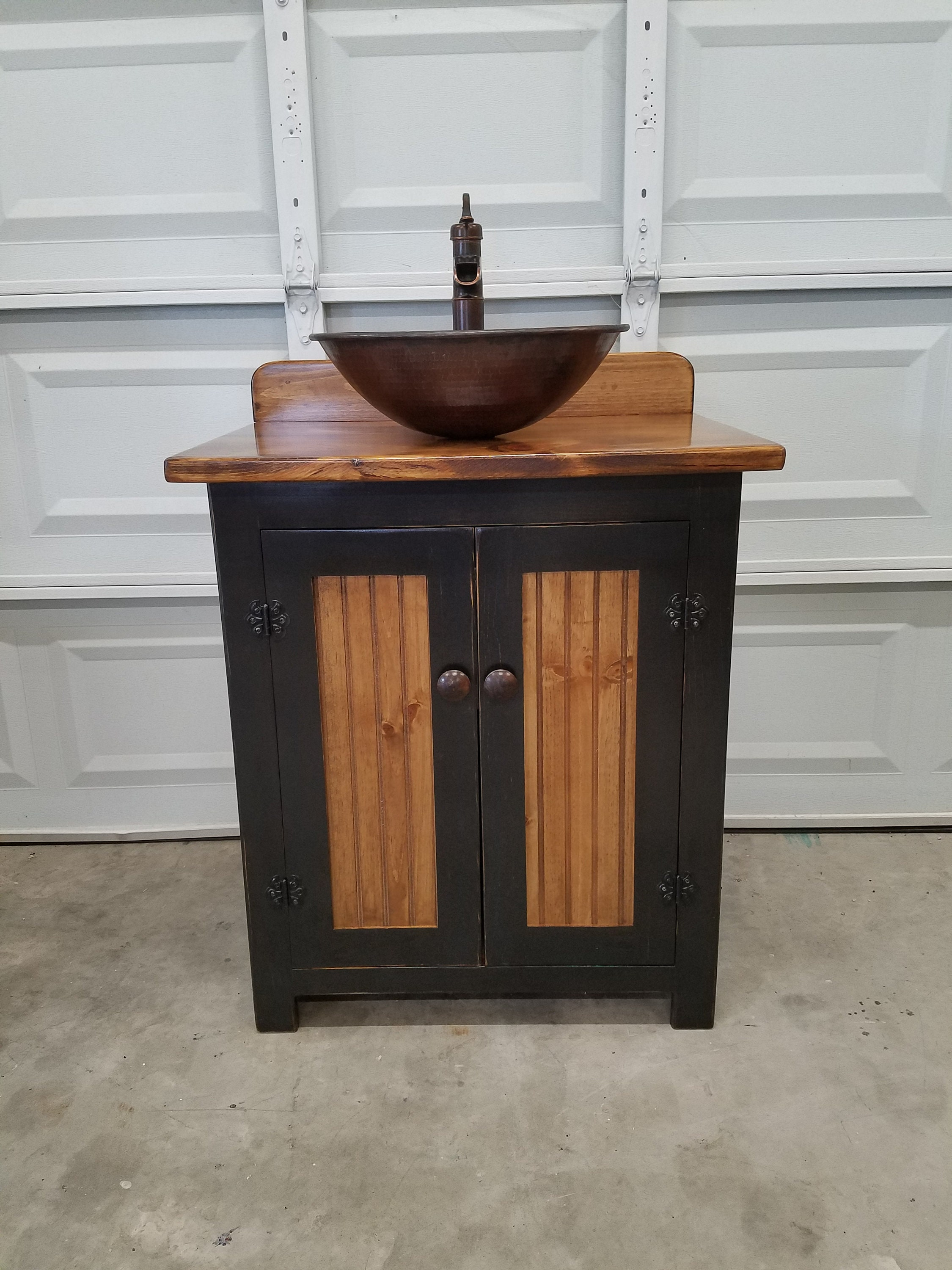 Rustic Bathroom Vanity 30 Farmhouse Vessel Copper Sink Pump Faucet Bathroom Vanity With Sink Sink Faucet Included In Price