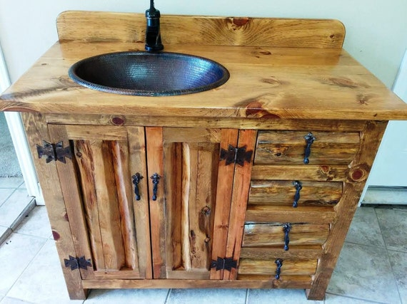 "Rustic Bathroom Vanity - 42"" - Copper Sink - Rustic Sink - Bathroom Vanity with Sink - Bathroom Vanity - Bathroom Vanities - Bathroom Sink"