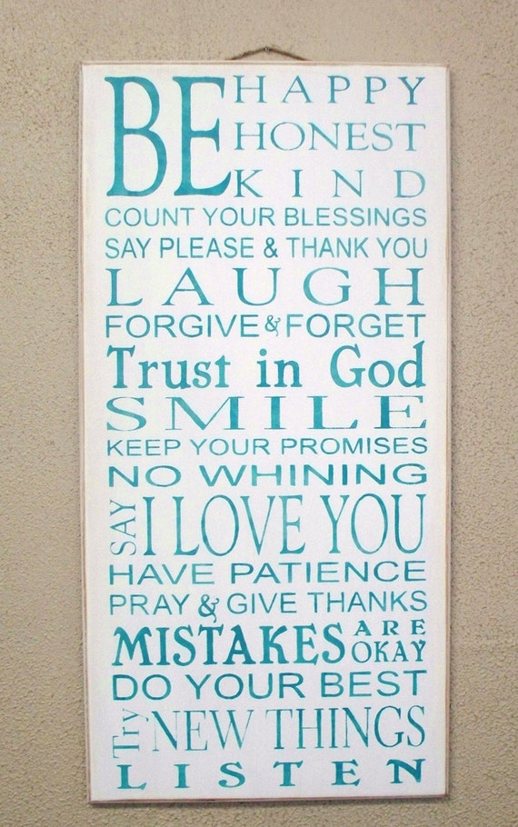 Be HAPPY - Be HONEST - Be KIND - Family Rules -large - 12 x 24 - Typography - Subway Art - Sign - Teal on White background  -