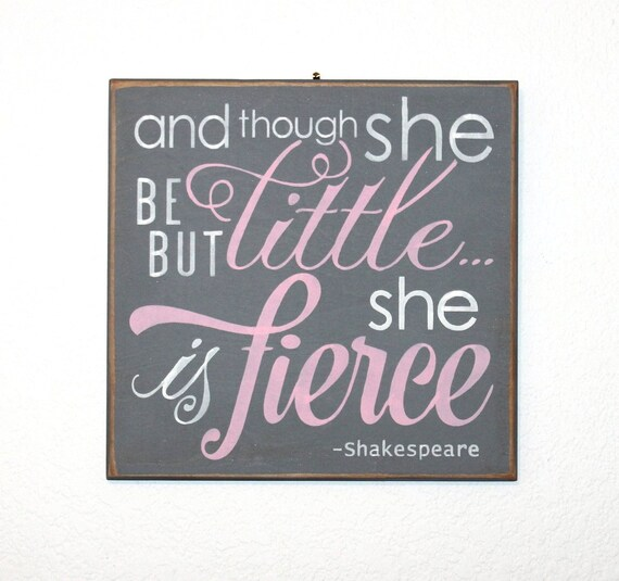 And though she be but little ... she is fierce - Hand Painted Wooden Sign - 12 x 12 - pink and gray - Girl's room - Nursery - Baby Girl