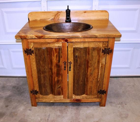 """Rustic Log Bathroom Vanity - 36"""" - Bathroom Vanity with sink - MS1371-36 with backsplash - Vanity - Copper sink - Rustic Bathroom Vanity"""