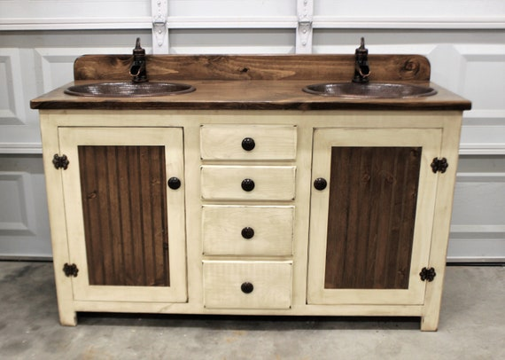 "Rustic Farmhouse Vanity - 60"" - Double Bathroom Vanity - FH1296-60D - Bathroom Vanity with sink - Copper Sink - Bathroom Vanities - Sink"