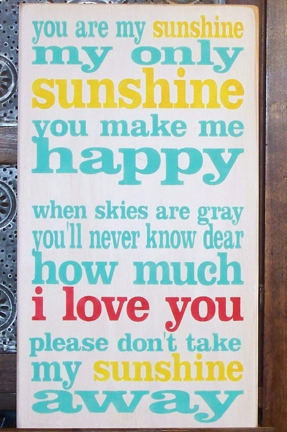 """YOU are MY SUNSHINE - I Love You in Red - Painted Wooden Sign -  20"""" x 12 - Wood sign -  Hand Painted Sign - Girls room - Nursery"""