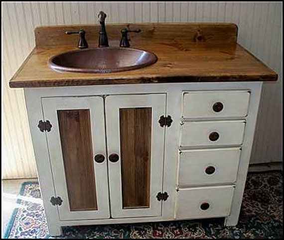 "Rustic Farmhouse Vanity - Copper Sink - 42"" - Off-white - Bathroom Vanity - Bathroom Vanity with Sink -  Rustic Vanity -  Farmhouse Vanity"