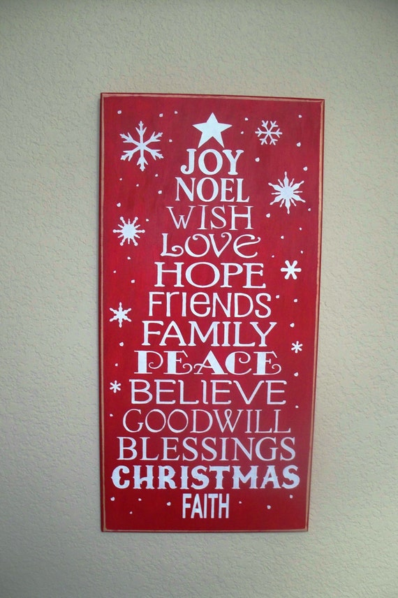 Wooden Christmas sign  - Christmas Tree - wooden - hand painted - Large - 12 x 24 - Red - wall hanging - Christmas Decor - Holiday decor