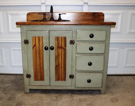 "Rustic Farmhouse Vanity - Copper Sink - 42"" - Sage Green - Bathroom Vanity - Bathroom Vanity with Sink -  Rustic Vanity -  Farmhouse Vanity"