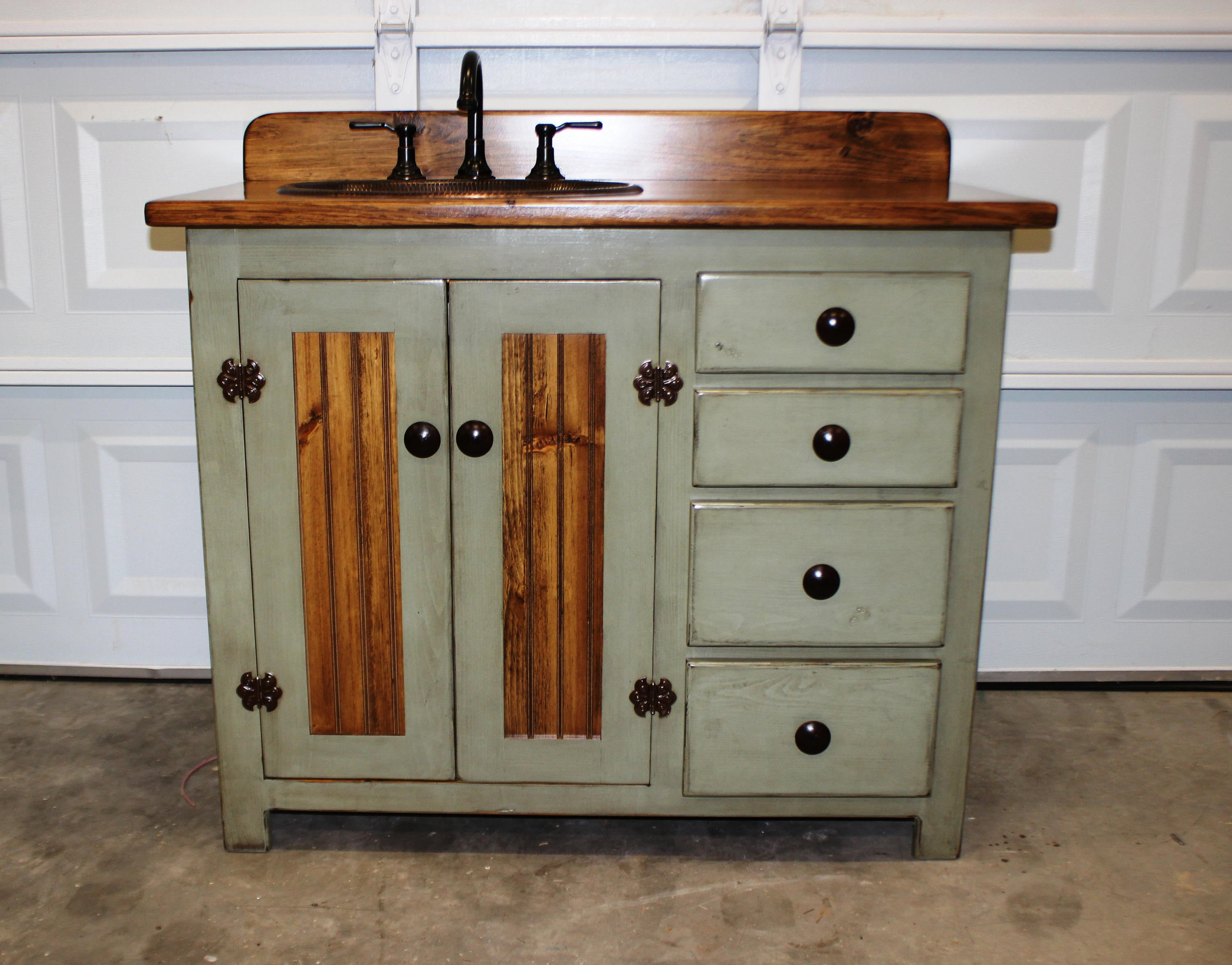 Rustic Farmhouse Vanity Copper Sink 42 Sage Green Bathroom Vanity Bathroom Vanity With Sink Rustic Vanity Farmhouse Vanity