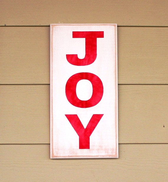JOY - Painted Wooden Sign - Christmas Decor - 16 x 8 - Hand painted