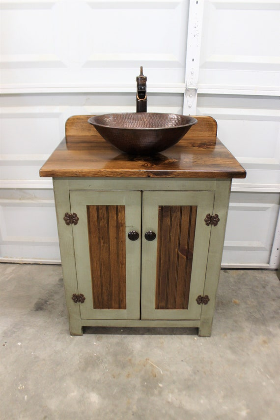 "Rustic Farmhouse Vanity - 30"" - Sage Green - Bathroom Vanity - Bathroom Vanity with Vessel Sink - Farmhouse Vanity with Sink - Copper Sink"