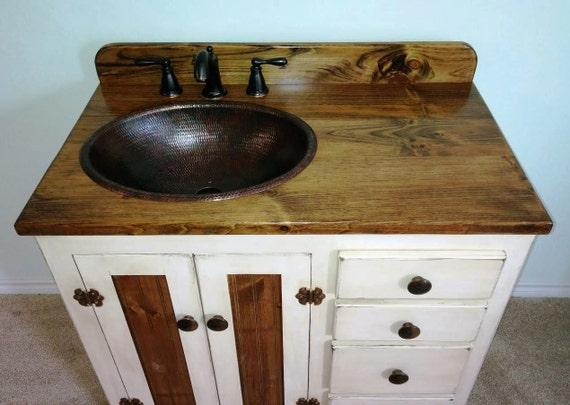 """Farmhouse Rustic Bathroom Vanity with Sink - 36"""" - Rustic Bathroom Vanities - Rustic Bathroom Vanity with sink - Farmhouse - Copper sink"""