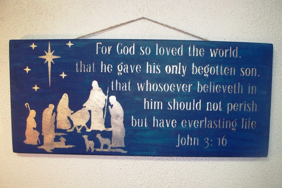 Wooden Christmas Sign - Large - 12 x 25 - Nativity - John 3 16 -  Midnight Blue with Gold lettering - Scripture - Manger - Bible - Holiday