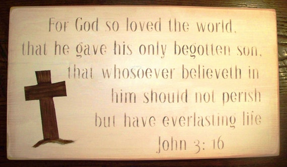 John 3:16  /  Wall Hanging with Cross in Neutral Tones / Scripture / Bible Verse / Easter / Christian Art