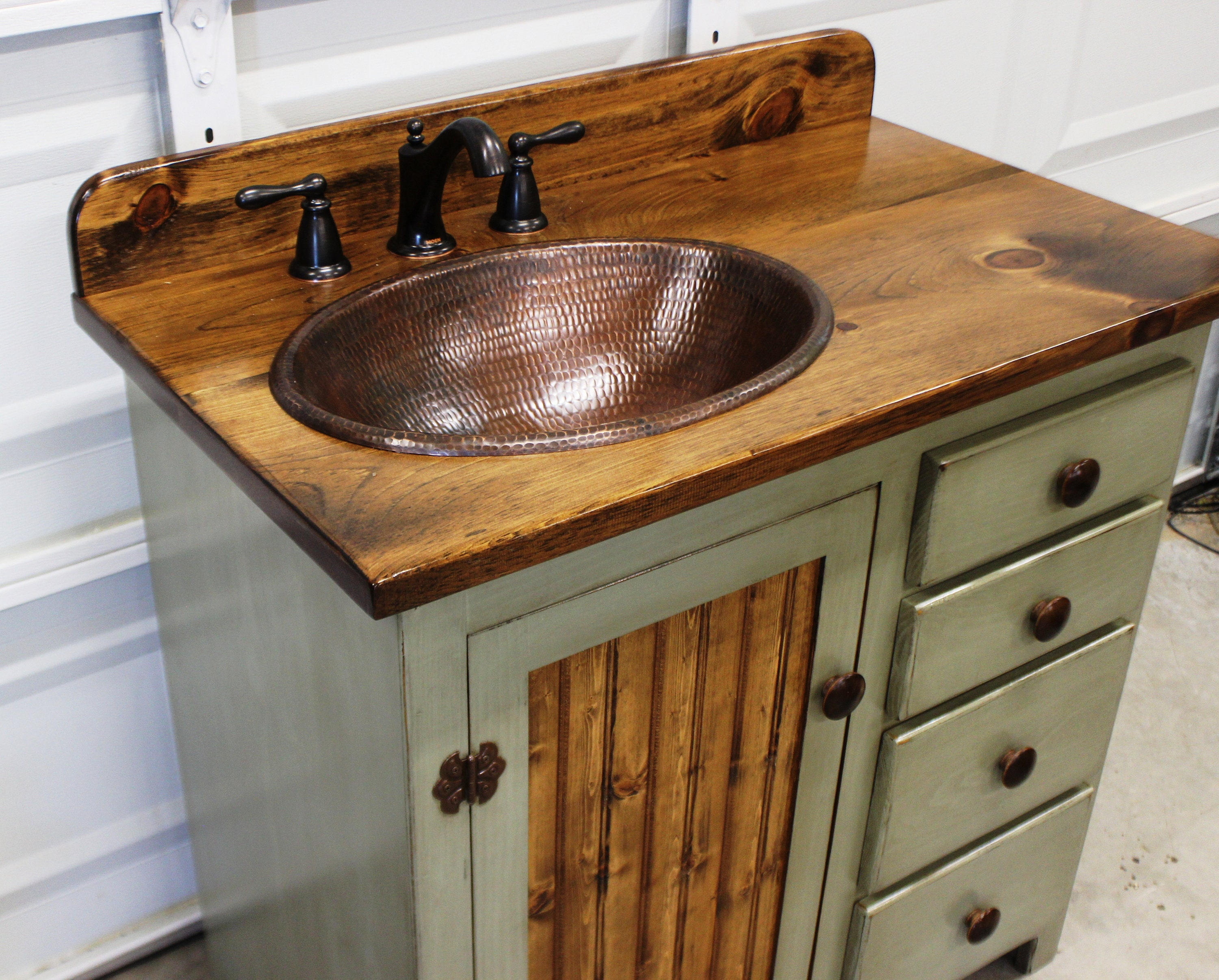 Bathroom Vanity 36 Rustic Farmhouse Bathroom Vanity Sage Green Bathroom Vanity W Drawers Rustic Bathroom Vanity Copper Sink