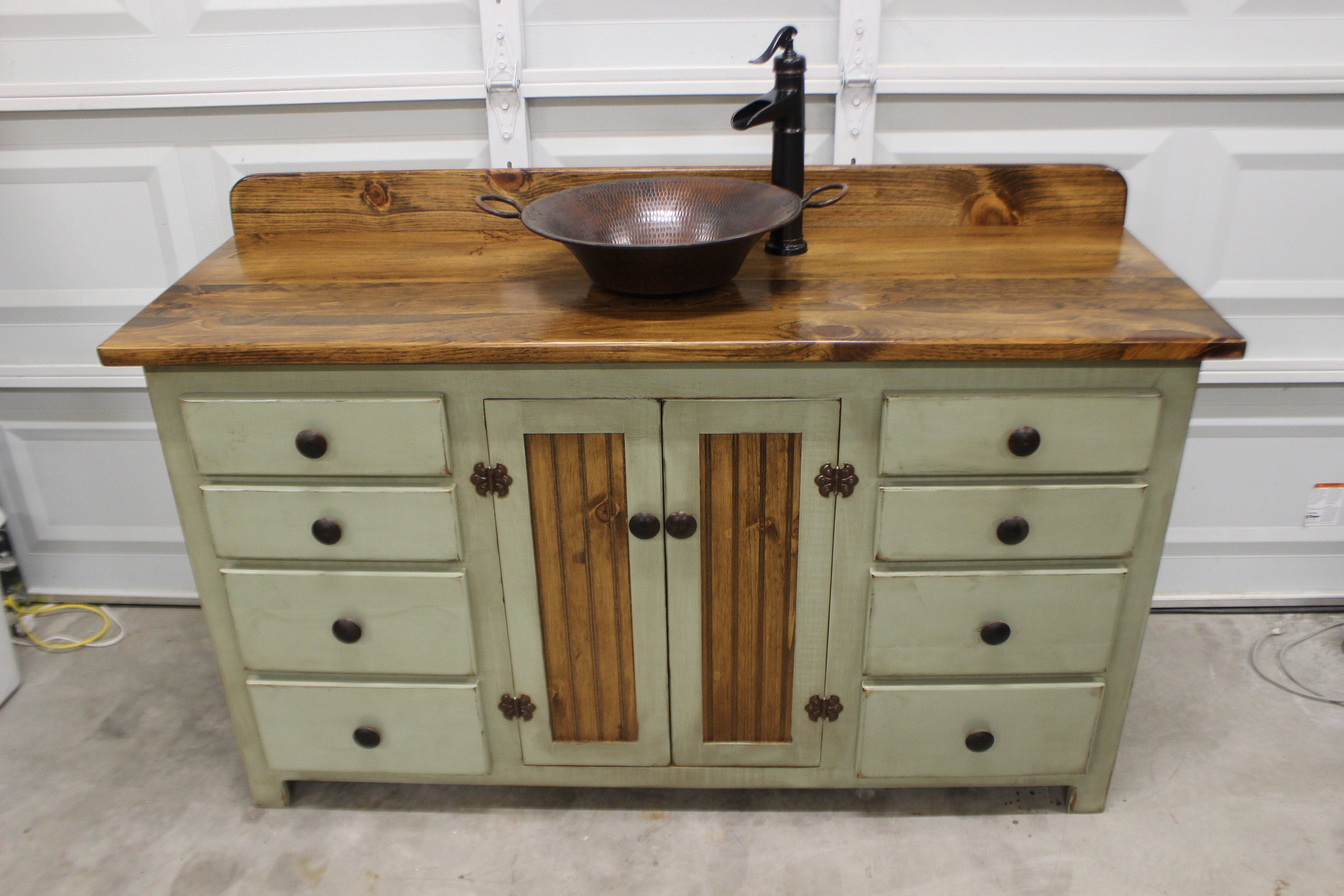 Rustic Farmhouse Vanity Copper Sink 60 Sage Green Bathroom Vanity Bathroom Vanity With Sink Rustic Vanity Farmhouse Vanity