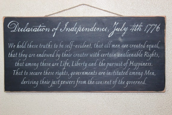 Declaration of Independence - July 4th 1776 - Hand-painted Wooden sign - Black chalk paint - 24 x 12 - Fourth of July - Thomas Jefferson