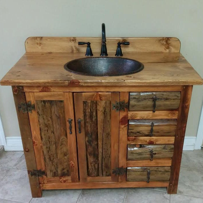 RUSTIC BATHROOM VANITY   42  Rustic Log Vanity   MS1371 42C   Bathroom  Vanity With Sink   Bathroom Vanities   Copper Sink   Rustic Bathroom
