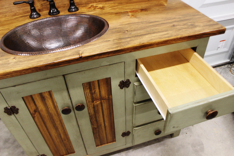 Rustic Farmhouse Vanity Copper Sink 42 Sage Green