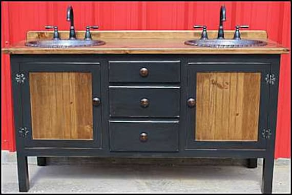 """Rustic Farmhouse Vanity - Double Bathroom Vanity - Bathroom Vanity with sink - Copper Sink - 62"""" - Faucets and sinks included - FH1296-62D"""