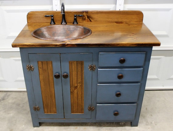 "Rustic Farmhouse Vanity - Copper Sink - 42"" - BLUE - Bathroom Vanity - Bathroom Vanity with Sink - Rustic Vanity - Farmhouse Vanity"