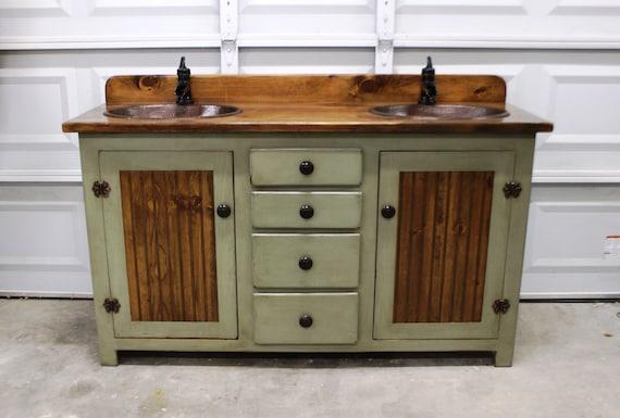 Rustic Farmhouse Vanity 60 Double Bathroom Vanity Fh1296 60d Bathroom Vanity With Sink Copper Sink Bathroom Vanities Sink
