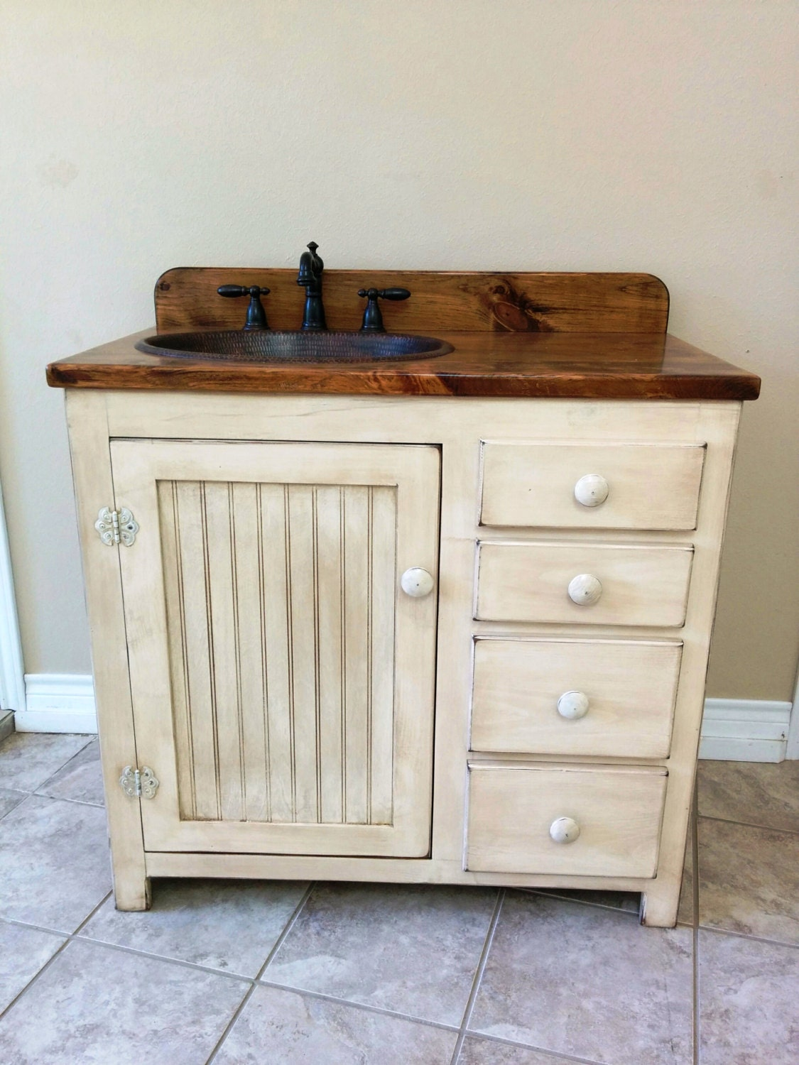 Bathroom vanity 36 rustic farmhouse bathroom vanity fh1297 36l bathroom vanity w drawers rustic bathroom vanity copper sink