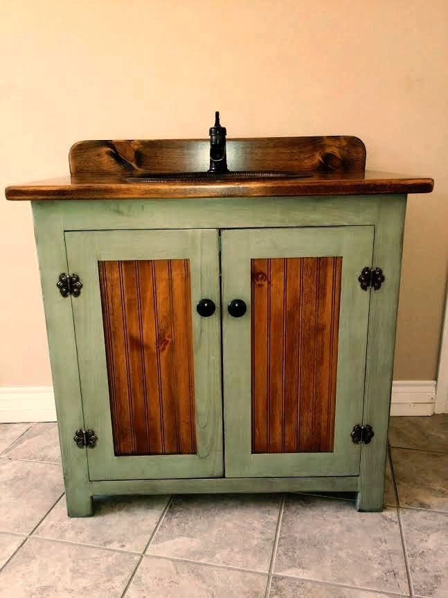 Country Pine Bathroom Vanity with Hammered Copper Sink: 36 inch wide ...