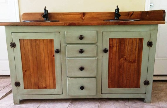"Double Bathroom Vanity -  Rustic Bathroom Vanity - Bathroom Vanity - Copper Sinks -  Sage Green - 60""  - Bathroom Vanities - Rustic Vanity"