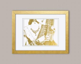 Sitar Woman Gold Foil Print, Gold Print, Illustration Art Print