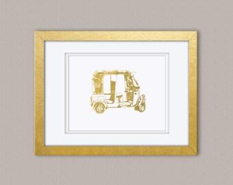Rickshaw Gold Foil Print, Gold Print, Illustration Art Print