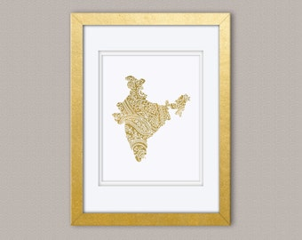 India Map Paisley - Gold Foil Print, Gold Print, Illustration Art Print