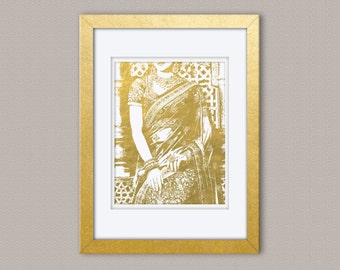 Desi Woman in Sari Gold Foil Print, Gold Print, Illustration Art Print