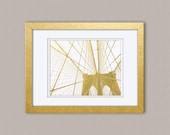 Brooklyn Bridge REAL Gold Foil Print, Gold Print, Illustration Art Print