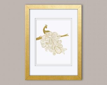 Paisley Peacock - Gold Foil Print, Gold Print, Illustration Art Print