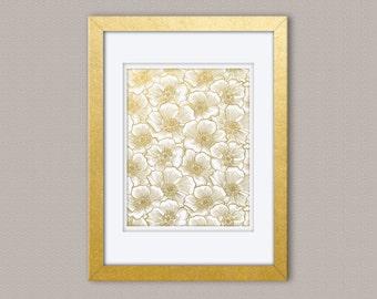 Anemone Floral Gold Foil Print, Gold Print, Illustration Art Print