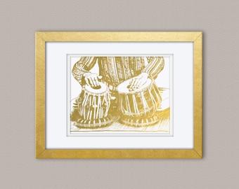 Tabla Musician Gold Foil Print, Gold Print, Illustration Art Print