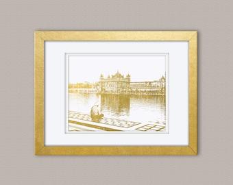 Amristar Golden Temple Gold Foil Print, Gold Print, Illustration Art Print