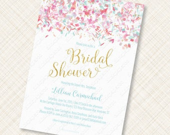 Confetti Bridal Shower Invitation Printable coral, teal, pink with gold foil effects digital download custom invite wedding bride jpeg pdf