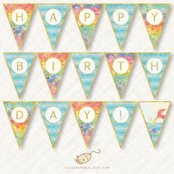 graphic about Happy Birthday Printable Banner identified as Rainbow Mermaid Satisfied Birthday Banner Printable Bunting Prompt Obtain bash flag watercolor scales tail waves gold foil glitter pdf